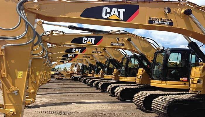 Caterpillar Excavators Lined Up